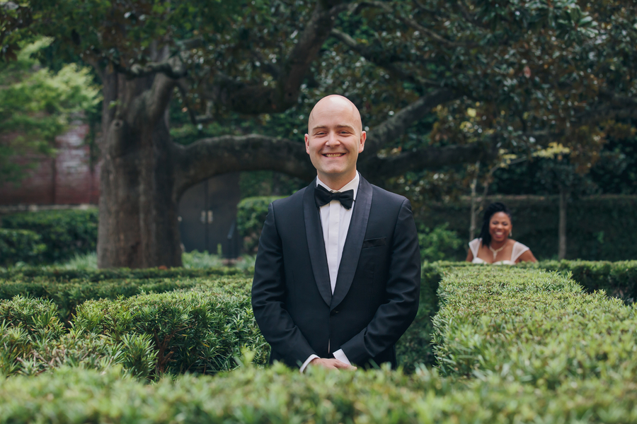 Jennifer & Peter's First look at William Aiken House wedding  //  Charleston wedding venue // A Lowcountry Wedding Magazine & Blog