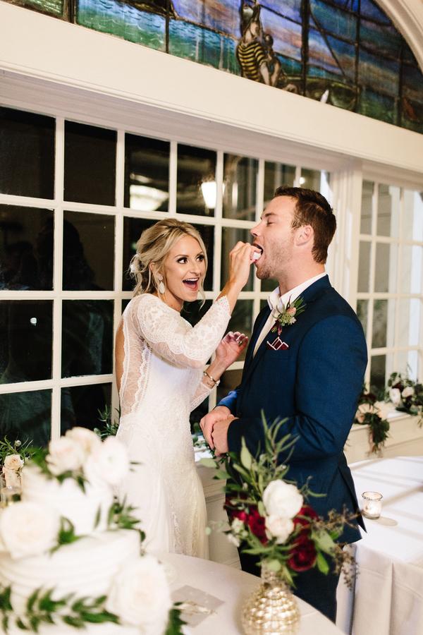 Bride & Groom cake cutting at The King & Prince Resort //  Saint Simons Island, Georgia wedding photos  // A Lowcountry Wedding Magazine & Blog