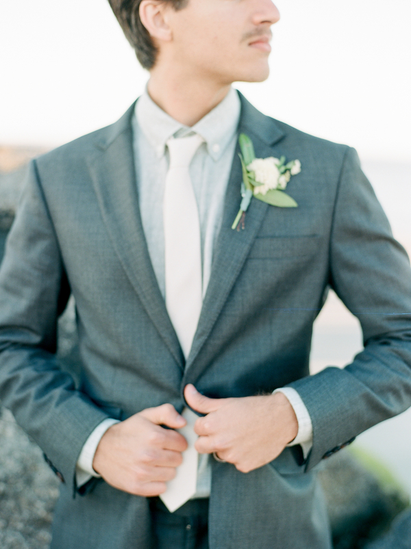Groom in grey suit with boutonniere from A to Zinnias  //  Savannah wedding photos by Dee Carlin Photography  //  on A Lowcountry Wedding Magazine & Blog