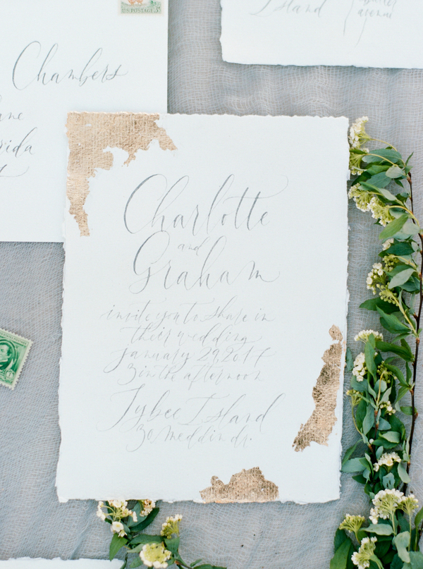 Hand lettered invitations with gold leafing by Rachel Anne  //  Savannah wedding photos by Dee Carlin Photography  //  on A Lowcountry Wedding Magazine & Blog