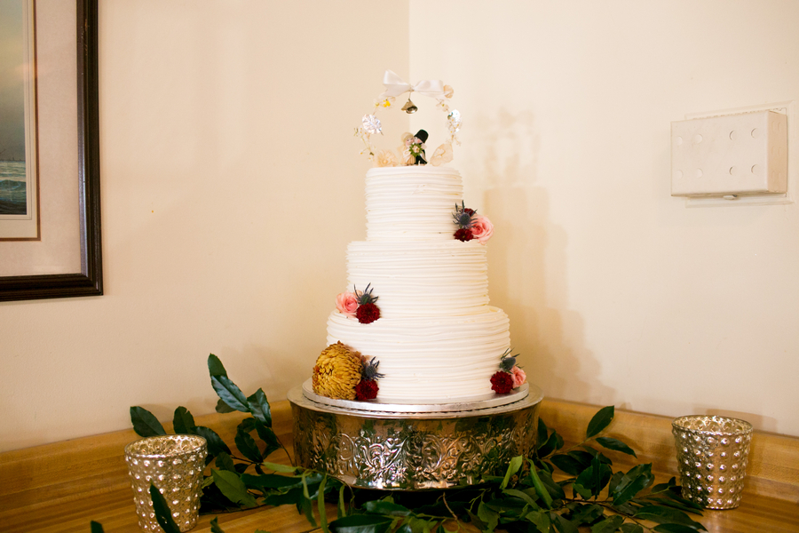 Three-tiered wedding cake at Charleston Yacht Club wedding //  Charleston wedding photography by Jeanne Mitchum Photography // on A Lowcountry Wedding Magazine & Blog