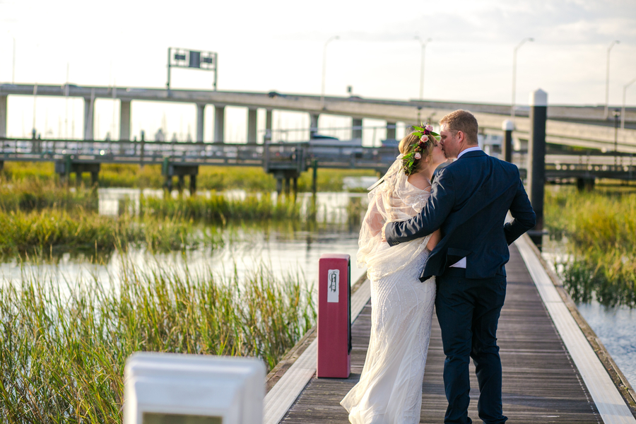 Bride & Groom at The Charleston City Marina //  Coastal wedding photography by Jeanne Mitchum Photography // on A Lowcountry Wedding Magazine & Blog
