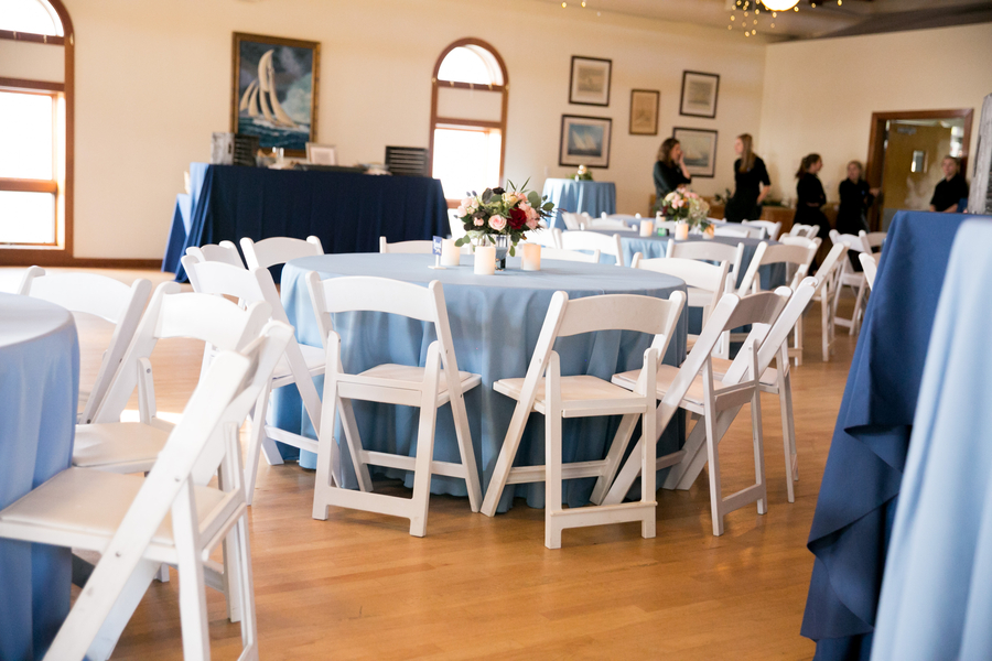 Blue table linens at Charleston Yacht Club wedding //  Charleston wedding photography by Jeanne Mitchum Photography // on A Lowcountry Wedding Magazine & Blog
