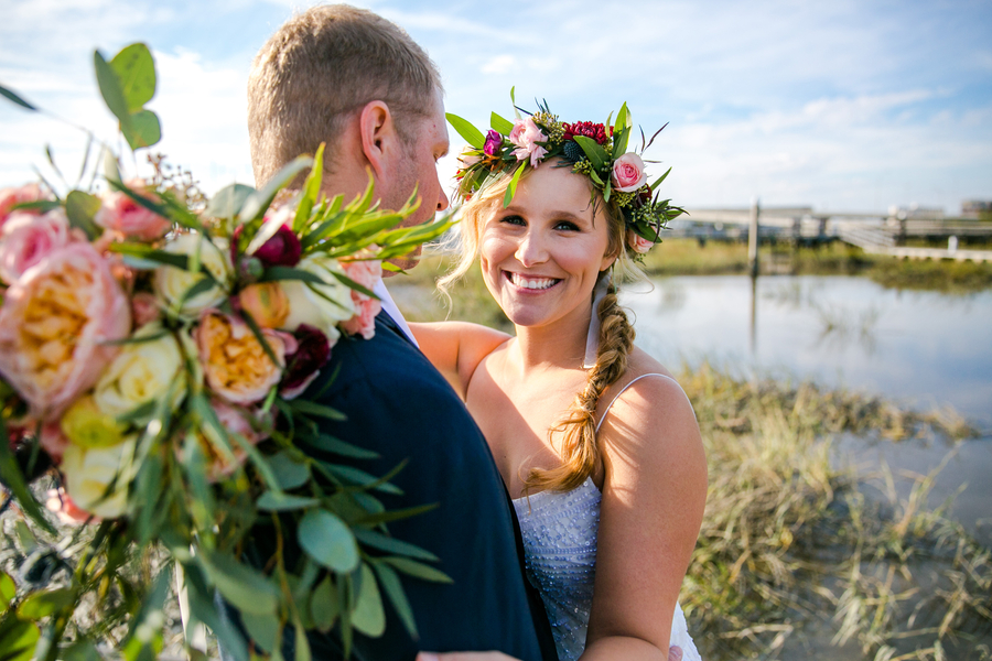 Bride & Groom portraits at Charleston Yacht Club wedding //  Charleston wedding photography by Jeanne Mitchum Photography // on A Lowcountry Wedding Magazine & Blog