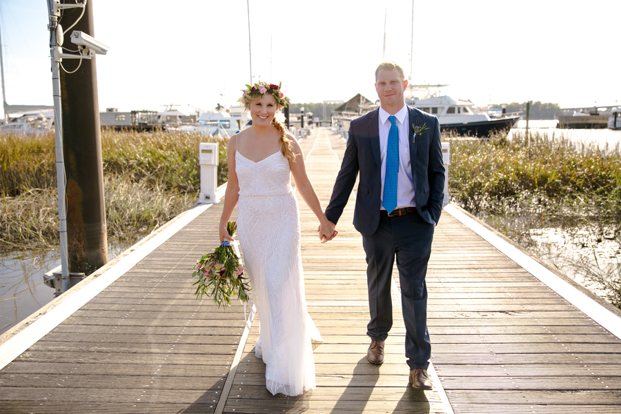Post ceremony pictures at The Charleston City Marina  //  Coastal wedding photography by Jeanne Mitchum Photography // on A Lowcountry Wedding Magazine & Blog