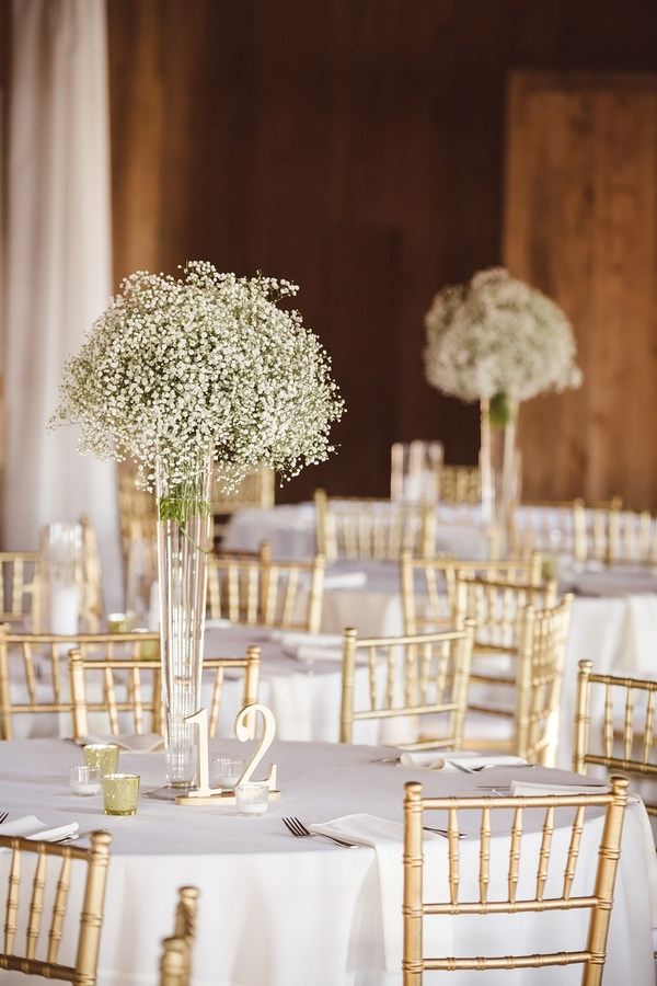 Baby's breath centerpieces  //  Charleston wedding photos by amelia + dan photography  //  A Lowcountry Wedding Magazine & Blog