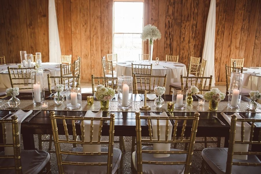 Gold and white wedding decor at The Cotton Dock  //  Charleston wedding photos by amelia + dan photography  //  A Lowcountry Wedding Magazine & Blog