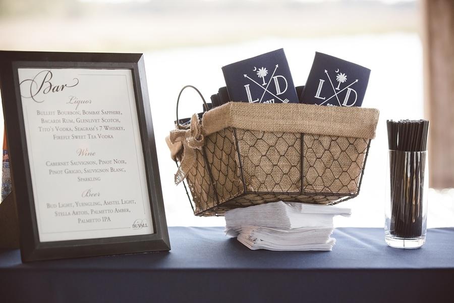Wedding bar menu and navy koozies at The Cotton Dock  //  Charleston wedding photos by amelia + dan photography  //  A Lowcountry Wedding Magazine & Blog
