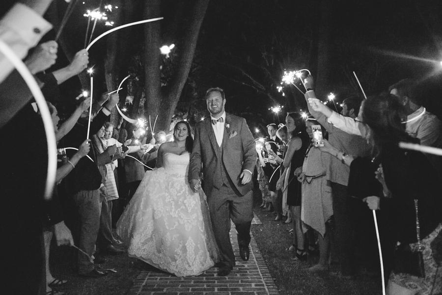 Sparkler exit at Oak Point Plantation on Johns Island, SC  //  Charleston wedding photographer Riverland Studios  //  A Lowcountry Wedding Magazine & Blog
