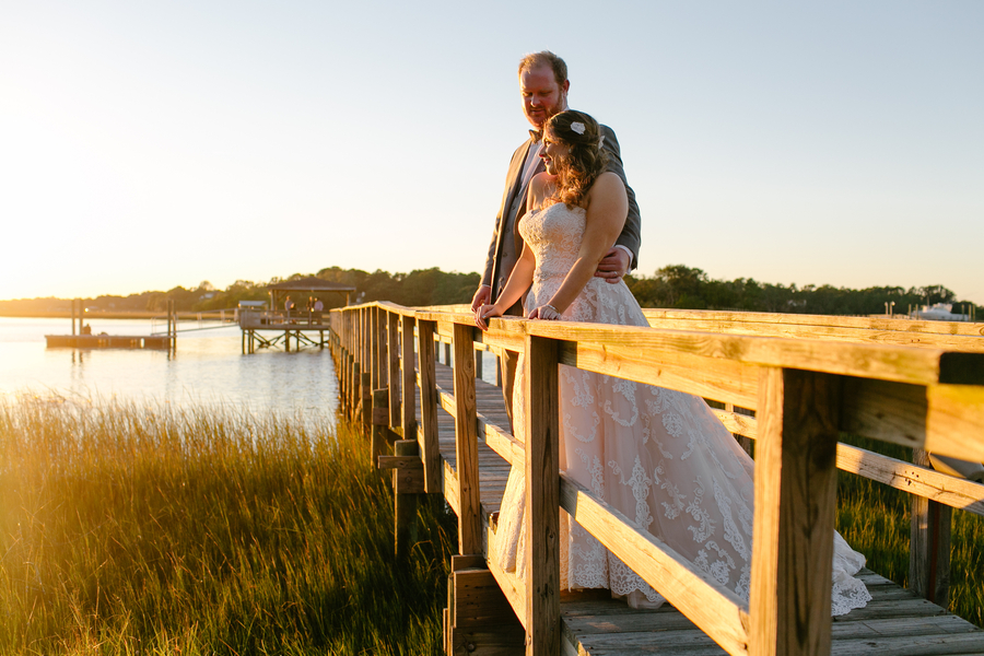 Sunset portraits at Oak Point Plantation wedding on Johns Island, SC  //  Charleston wedding photographer Riverland Studios  //  A Lowcountry Wedding Magazine & Blog