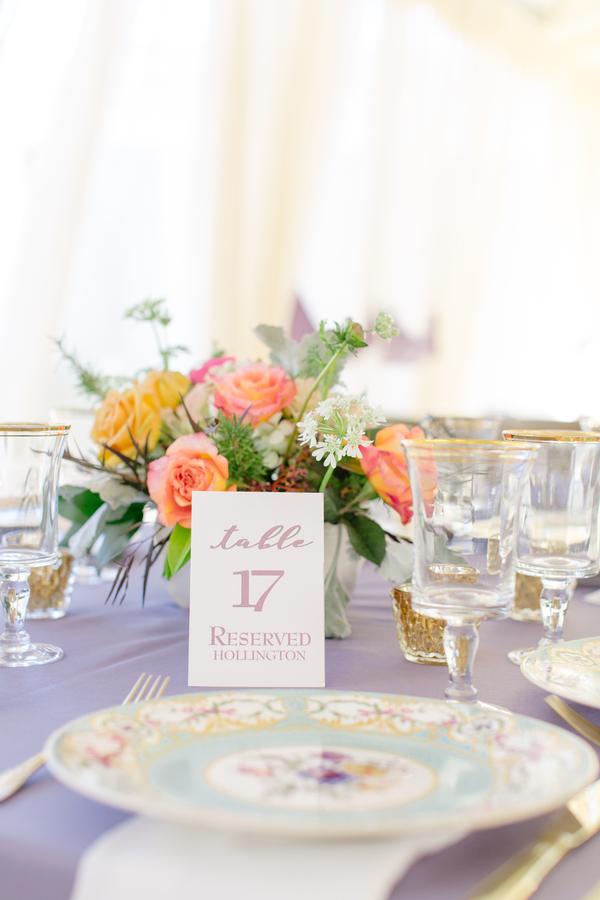 Vintage china settings on periwinkle table runners  //  Charleston wedding photographer Riverland Studios  //  A Lowcountry Wedding Magazine & Blog