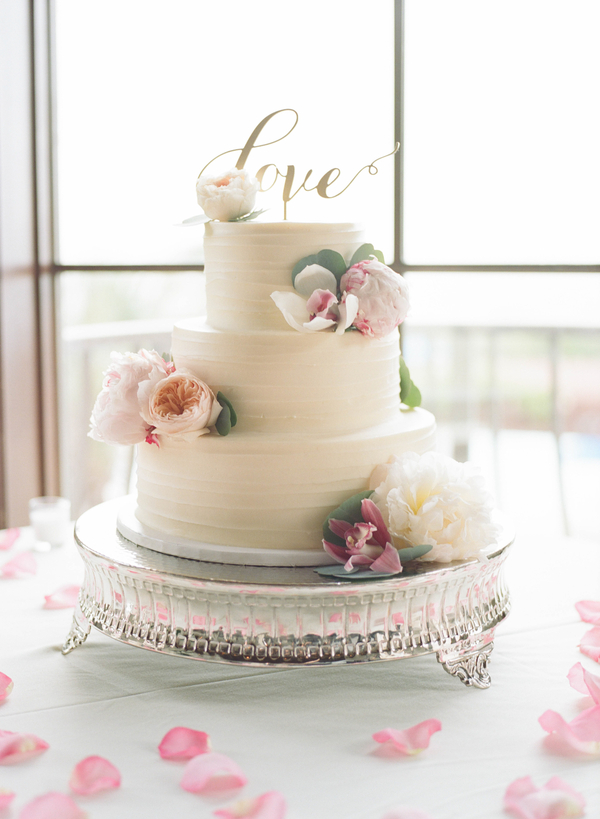 Three-tiered cake by Croissants Bistro & Bakery at Grande Dunes Ocean Club  //  Myrtle Beach wedding photos by Gillian Claire Photography  //  A Lowcountry Wedding Magazine & Blog