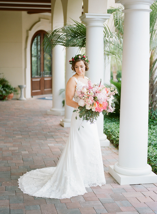 Bride wearing Casablanca gown on the beach with pink peony bouquet  //  Myrtle Beach wedding photos by Gillian Claire Photography  //  A Lowcountry Wedding Magazine & Blog