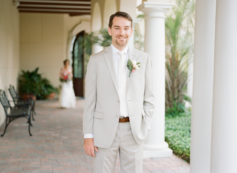 Groom wearing tan suit and white tie  //  Myrtle Beach wedding photos by Gillian Claire Photography  //  A Lowcountry Wedding Magazine & Blog