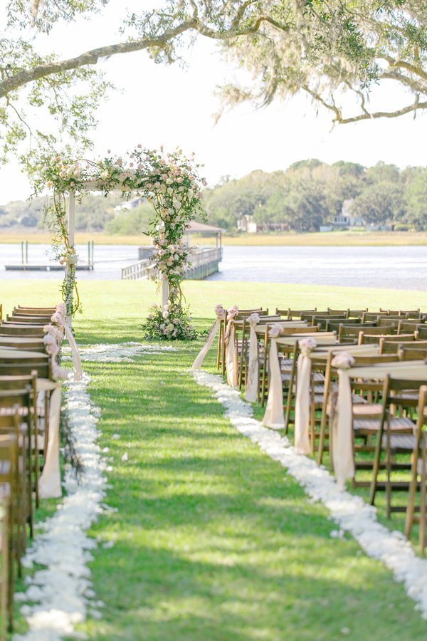 Outdoor ceremony setup at Oak Point Plantation  //  A Lowcountry Wedding Magazine & Blog