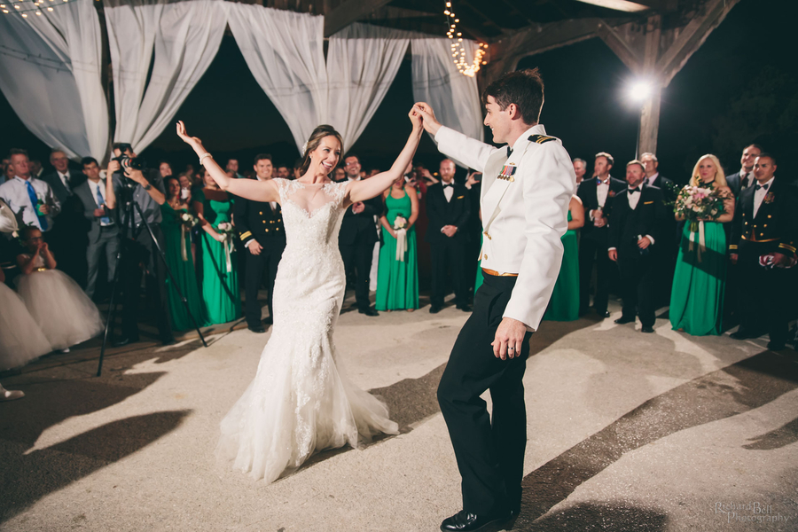 Bride and groom dancing at The Cotton Dock  //  Charleston wedding photos by Richard Bell Photography  //  A Lowcountry Wedding Magazine & Blog