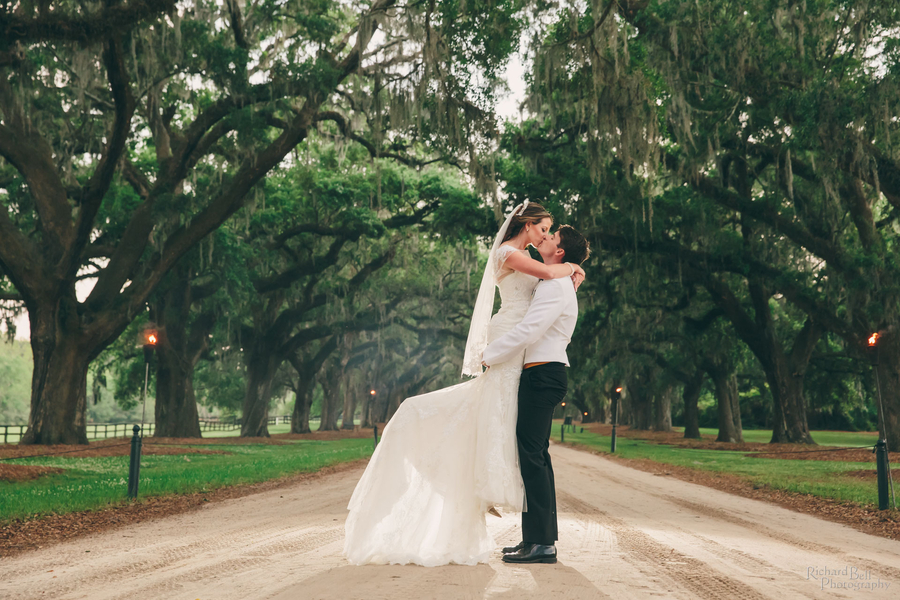 Wedding portraits under the avenue of oaks at Boone Hall Plantation by Richard Bell Photography //  A Lowcountry Wedding Magazine & Blog