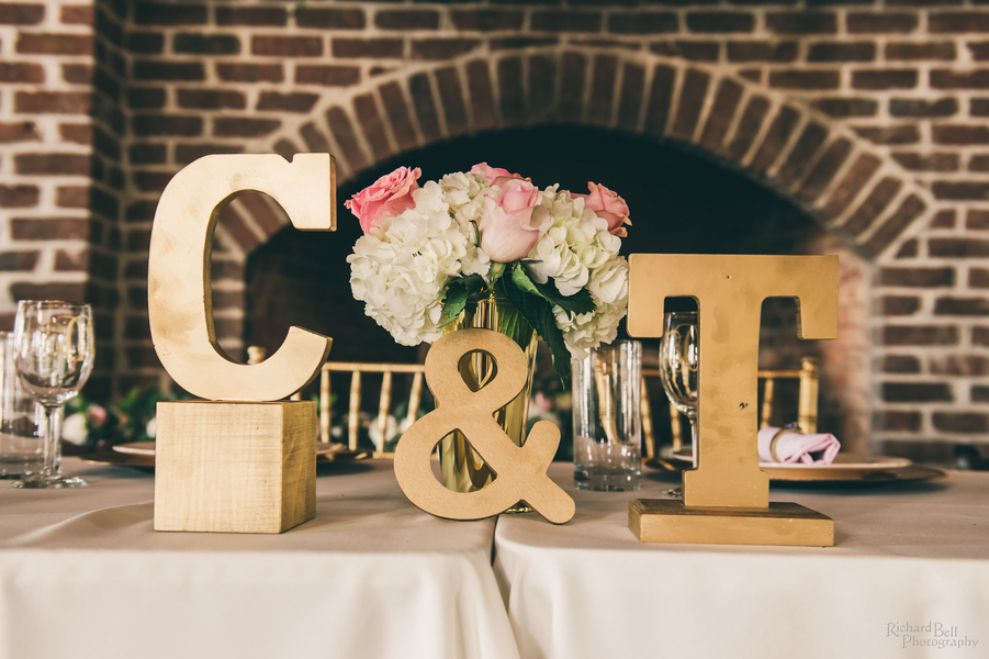 Gold reception decor at The Cotton Dock designed by Posh Petals & Pearls //  A Lowcountry Wedding Magazine & Blog