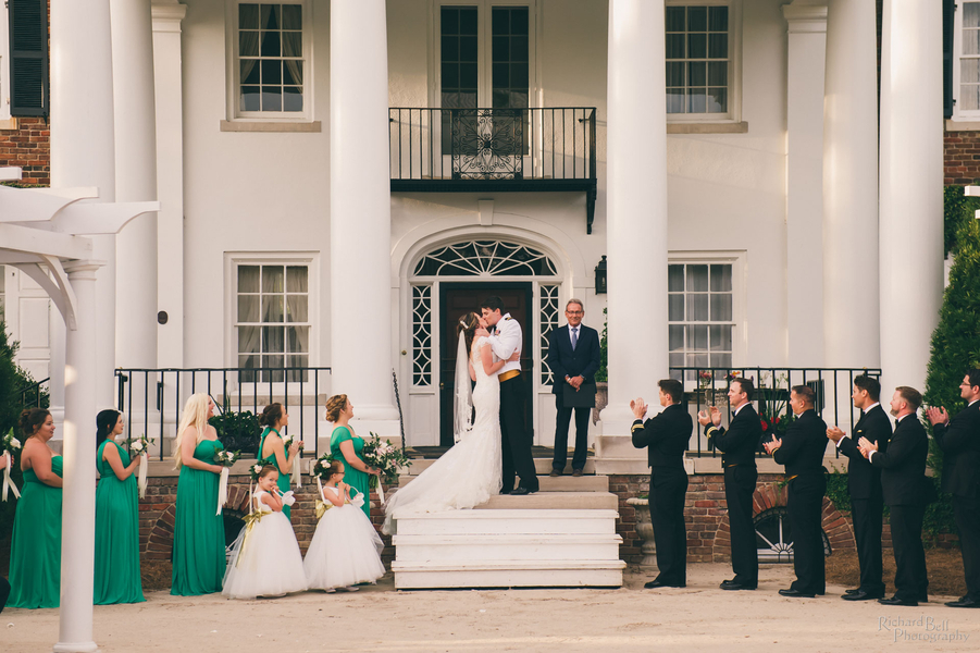 Outdoor ceremony at Boone Hall Plantation's front lawn  // Charleston wedding photos by Richard Bell Photography //  A Lowcountry Wedding Magazine & Blog