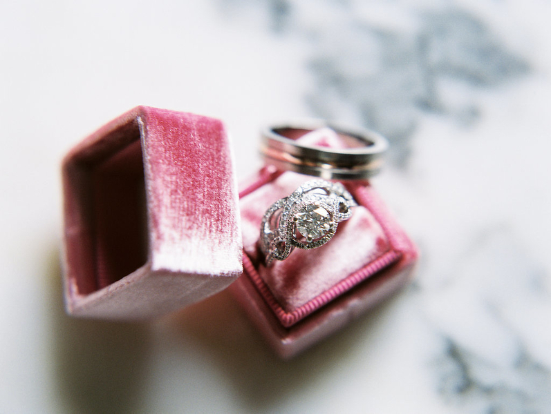 Vintage ring shot in blush Mrs. Box  //  Savannah wedding photos by Alison Epps Photography  //  A Lowcountry Wedding Magazine & Blog