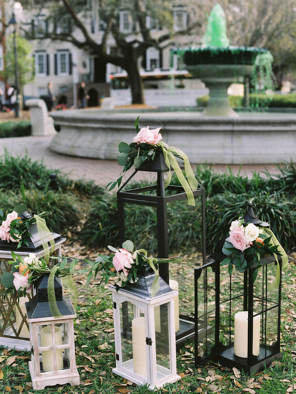 Lantern ceremony decor at Orleans Square by Harvey Designs  //  Savannah wedding photos by Alison Epps Photography  //  A Lowcountry Wedding Magazine & Blog