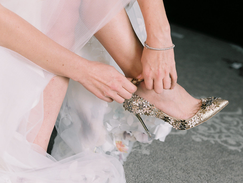Bride wearing gold Jimmy Choo shoes //  Savannah wedding photos by Alison Epps Photography  //  A Lowcountry Wedding Magazine & Blog