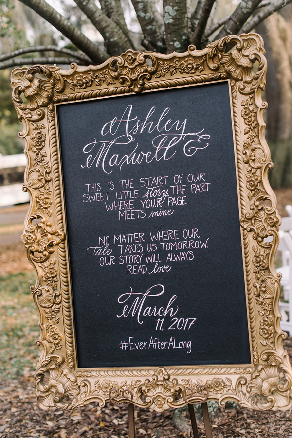 Hand lettered chalkboard ceremony sign by Low Country Paper Co.  //  Savannah wedding photos by Alison Epps Photography  //  A Lowcountry Wedding Magazine & Blog