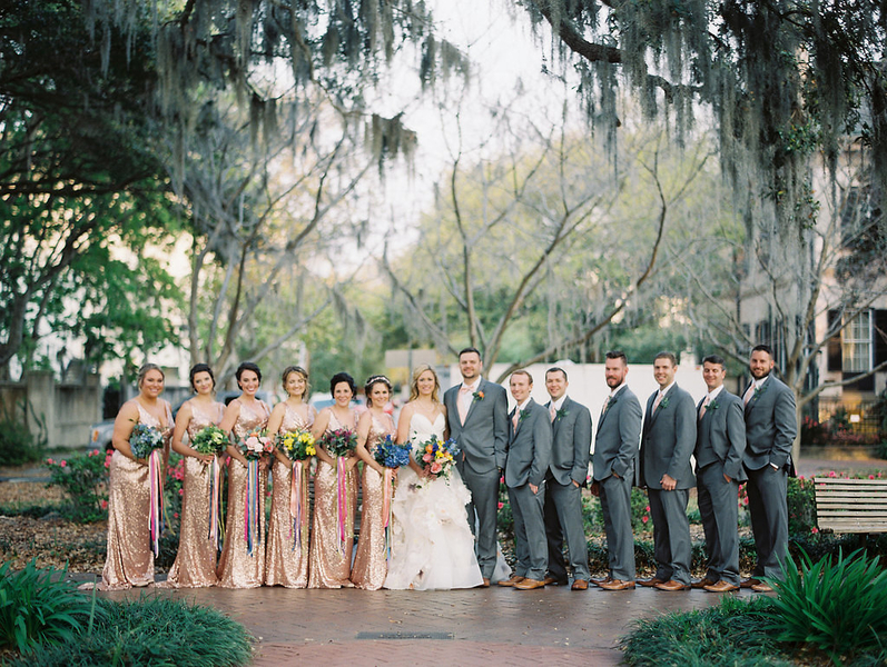 Bridal party portraits with bridesmaids in long gold dresses  //  Savannah wedding photos by Alison Epps Photography  //  A Lowcountry Wedding Magazine & Blog