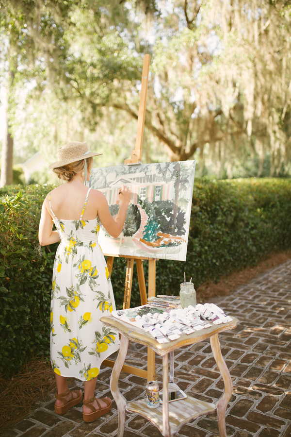 Live wedding artist at Oldfield River Club ceremony  //  Hilton Head wedding photos by Christi Clark Photography  //  A Lowcountry Wedding Magazine & Blog