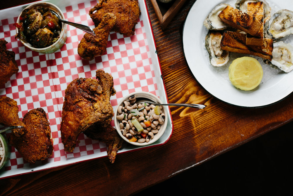 Fried chicken and black-eyed peas at Leon's Oyster Shed Rehearsal dinner  //  Charleston photos by Elizabeth Ervin  //  A Lowcountry Wedding Magazine & Blog