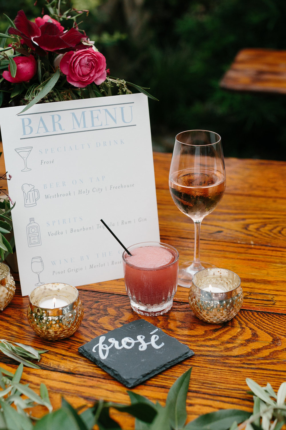 Specialty drink menu with Frose at Leon's Oyster Shed //  Charleston photos by Elizabeth Ervin  //  A Lowcountry Wedding Magazine & Blog