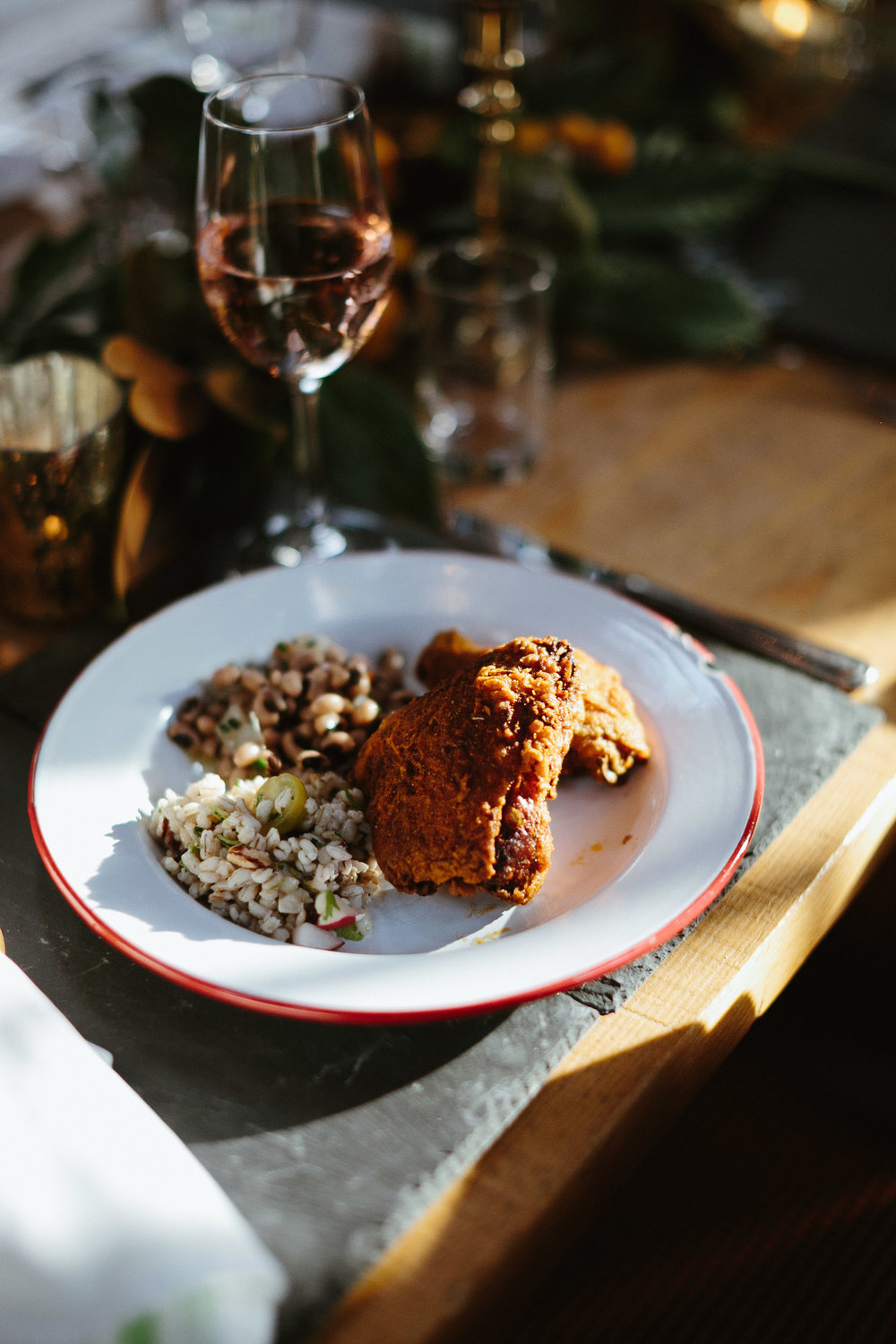 Fried chicken and black-eyed peas at Leon's Oyster Shed  //  Charleston photos by Elizabeth Ervin  //  A Lowcountry Wedding Magazine & Blog
