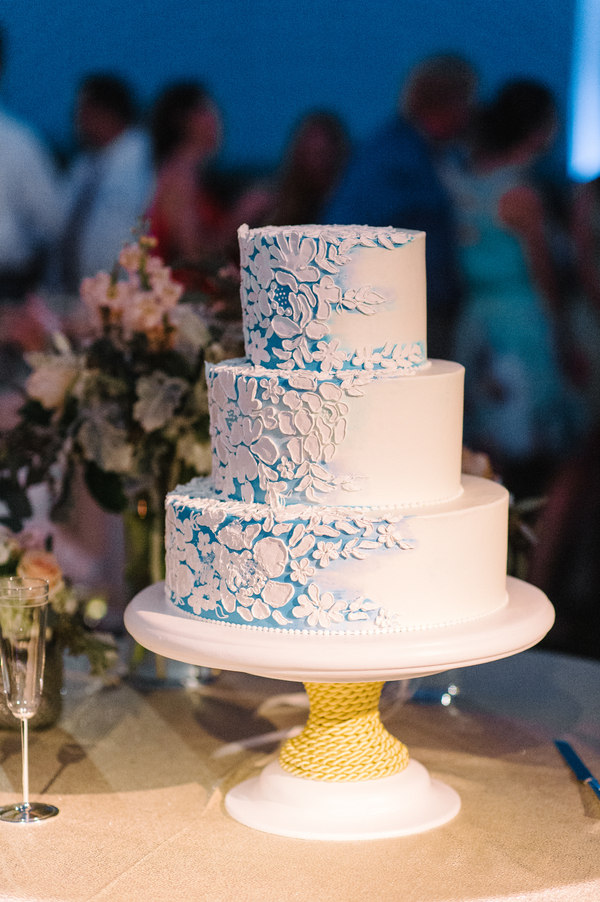 Three-tiered blue watercolor cake by Jim Smeal at Ocean Course wedding