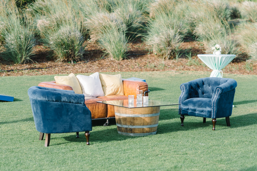 Vintage lounge furniture for outdoor reception at The Ocean Course  //  Planning by Intrigue Design & Events