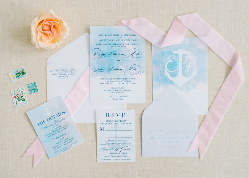 Watercolor wedding invitations at The Ocean Course  //  A Lowcountry Wedding Magazine