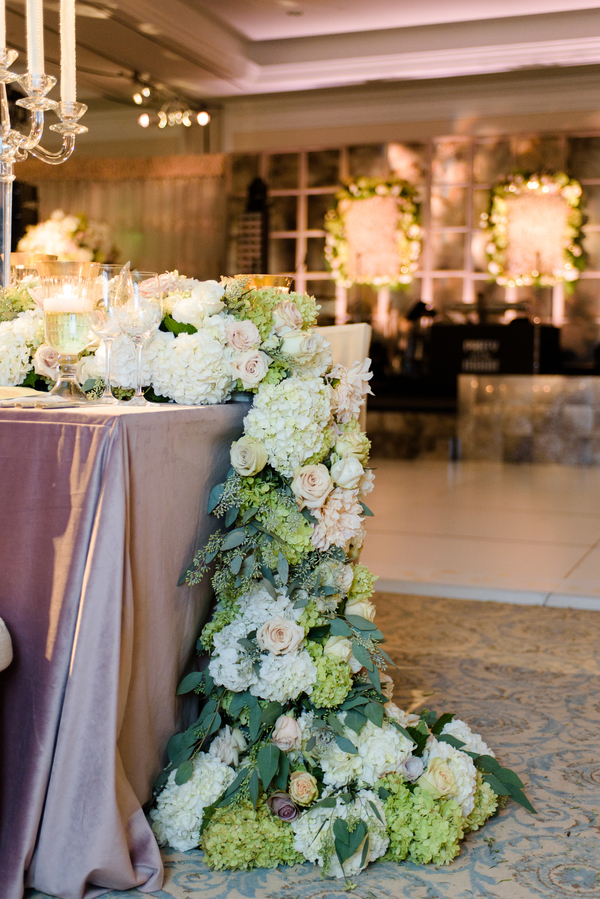 Green and white hydrangea floral runner at Palmetto Bluff in Bluffton, South Carolina designed by Todd Events  //  Hilton Head Island wedding photos by Donna Von Bruening  //  A Lowcountry Wedding Magazine & Blog