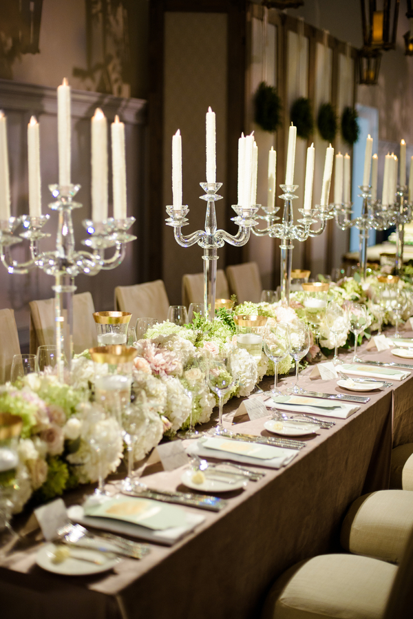 Tall candelabras and floral runner reception decor designed by Todd Events  //  Hilton Head Island wedding photos by Donna Von Bruening  //  A Lowcountry Wedding Magazine & Blog