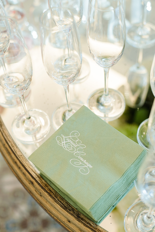 "Custom ""Liquid courage"" cocktail napkins  //  Hilton Head Island wedding photos by Donna Von Bruening  //  A Lowcountry Wedding Magazine & Blog"