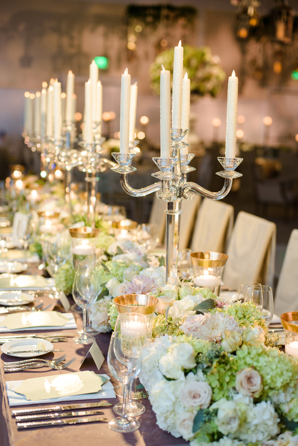 Elegant reception decor with tall candelabras and floral runner designed by Todd Events  //  Hilton Head Island wedding photos by Donna Von Bruening  //  A Lowcountry Wedding Magazine & Blog