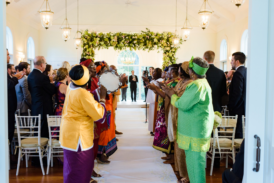 "Plantation singers sing ""Oh Happy Day"" at the end of ceremony   //  Hilton Head Island wedding photos by Donna Von Bruening  //  A Lowcountry Wedding Magazine & Blog"