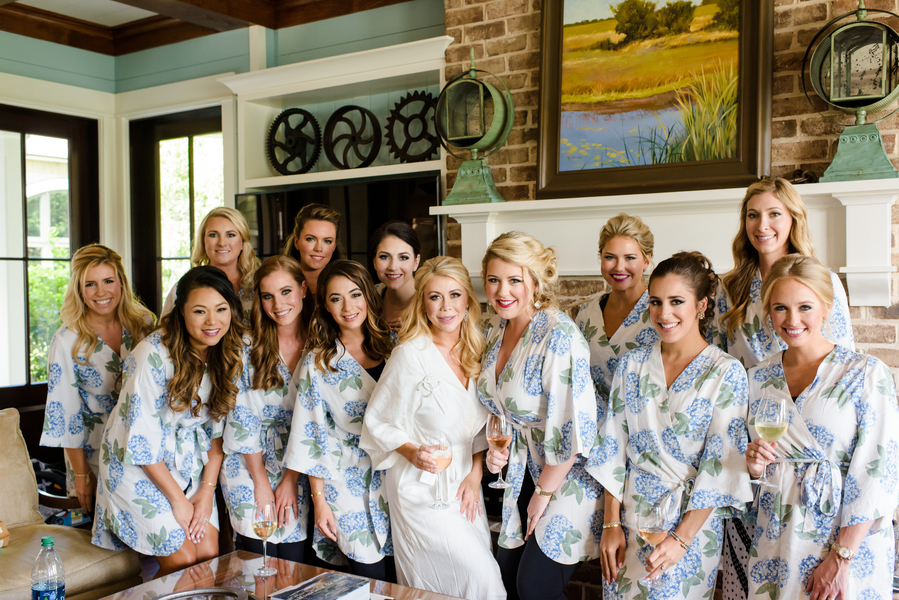 Bride and bridesmaids wearing robes for hair and makeup  //  Hilton Head Island wedding photos by Donna Von Bruening  //  A Lowcountry Wedding Magazine & Blog