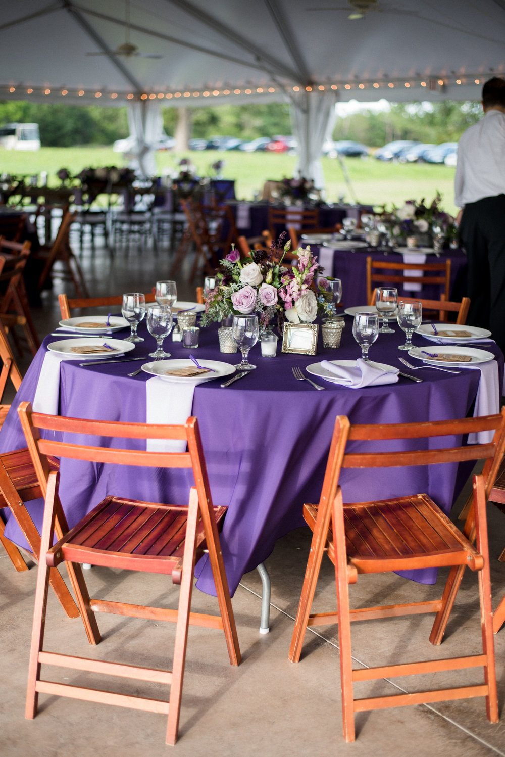 Lavender wedding reception decor at The Island House  //  Charleston wedding photos by Lauren Jonas Photography