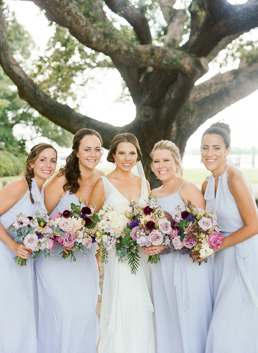 Charleston SC bridesmaids in long lavender dresses   //  A Lowcountry Wedding Magazine
