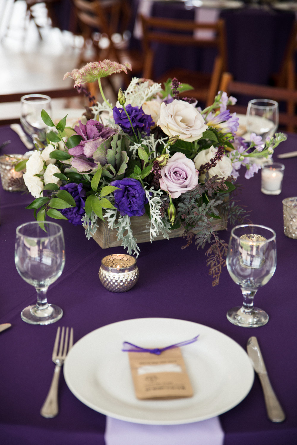 Organic purple centerpieces at The Island House  Outdoor wedding ceremony at The Island House on Johns Island SC  //  Charleston wedding florist On A Limb Floral Studio