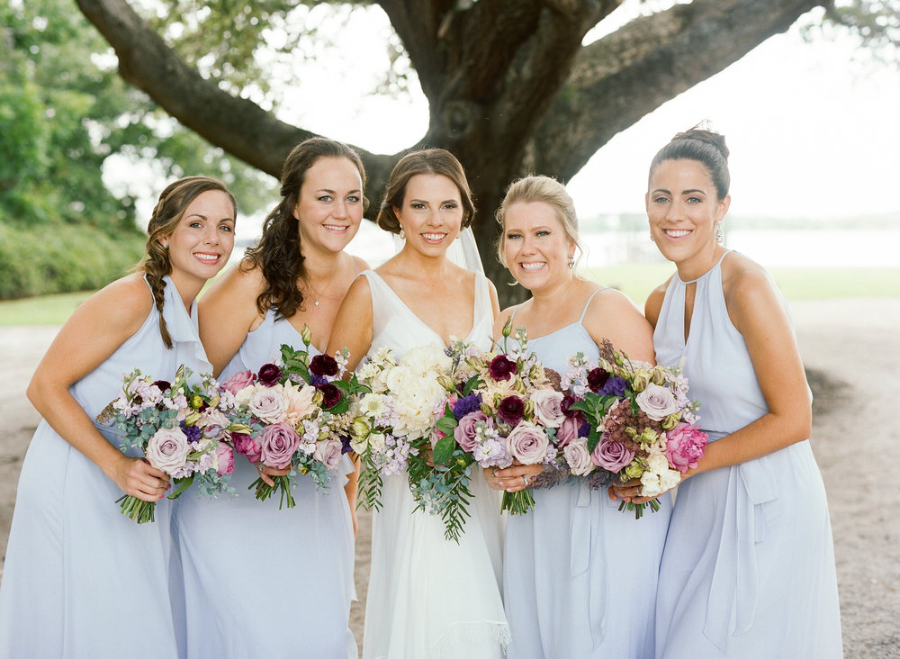 Bridesmaids wearing long lavender dresses for Charleston SC wedding  //  Island House on Johns Island SC