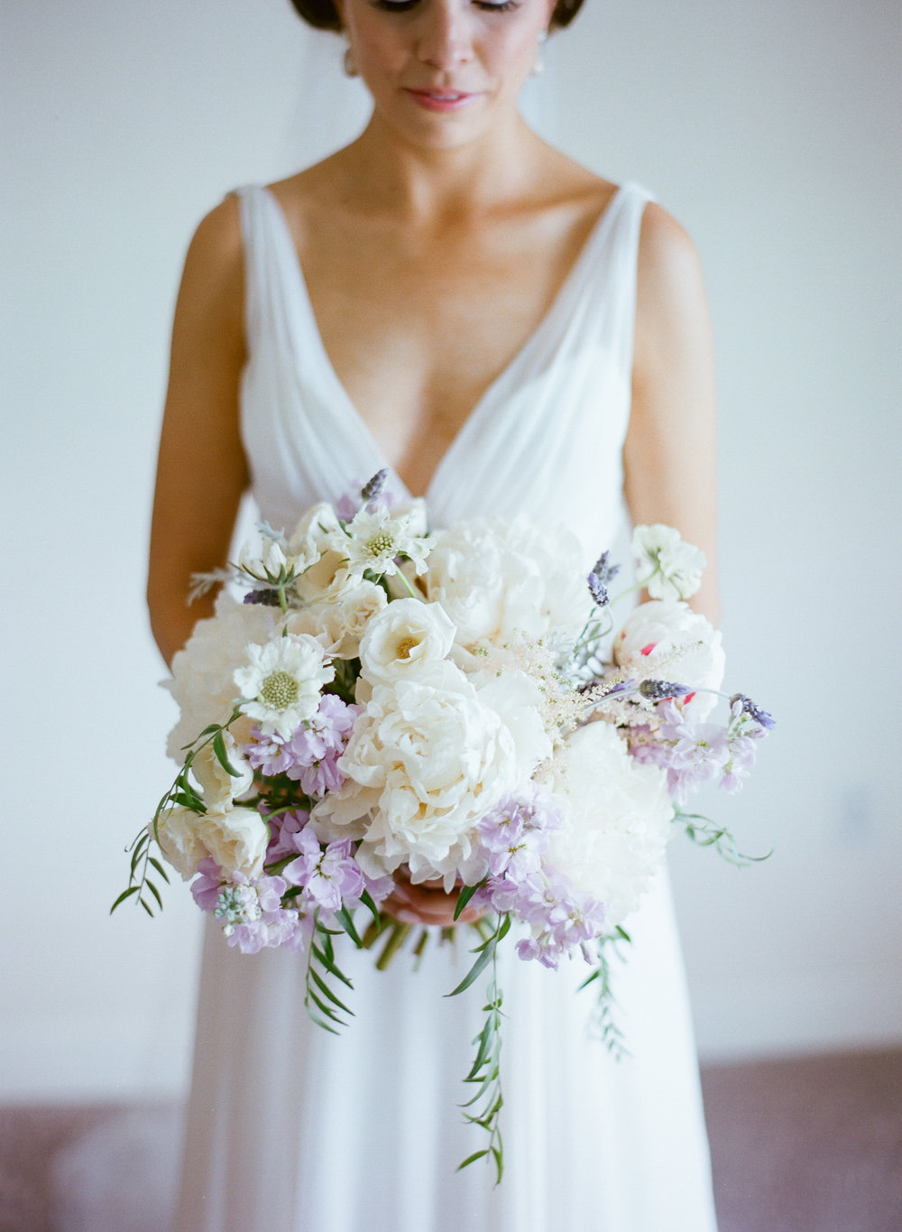 Organic bouquet of white peonies  //  Charleston SC wedding florist On A Limb Floral Studio