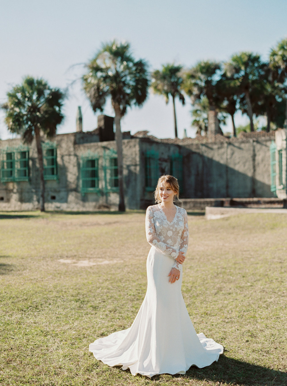 Modern Trousseau Jagger gown at Atalaya Castle // Photographed by JoPhoto // Event Styling by The Petal Report  // A Lowcountry Wedding Magazine