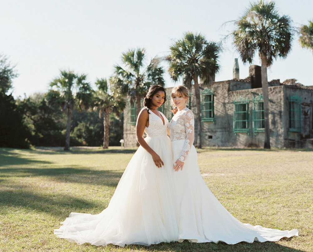Modern Trousseau Jagger and Jett gowns at Atalaya Castle // Photographed by JoPhoto // Event Styling by The Petal Report  // A Lowcountry Wedding Magazine