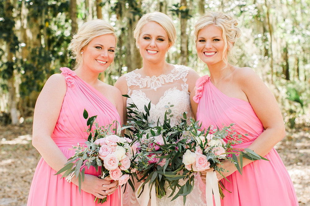 Bridesmaids in long pink Bari Jay dresses at wedding in Savannah GA  //  A Lowcountry Wedding Magazine