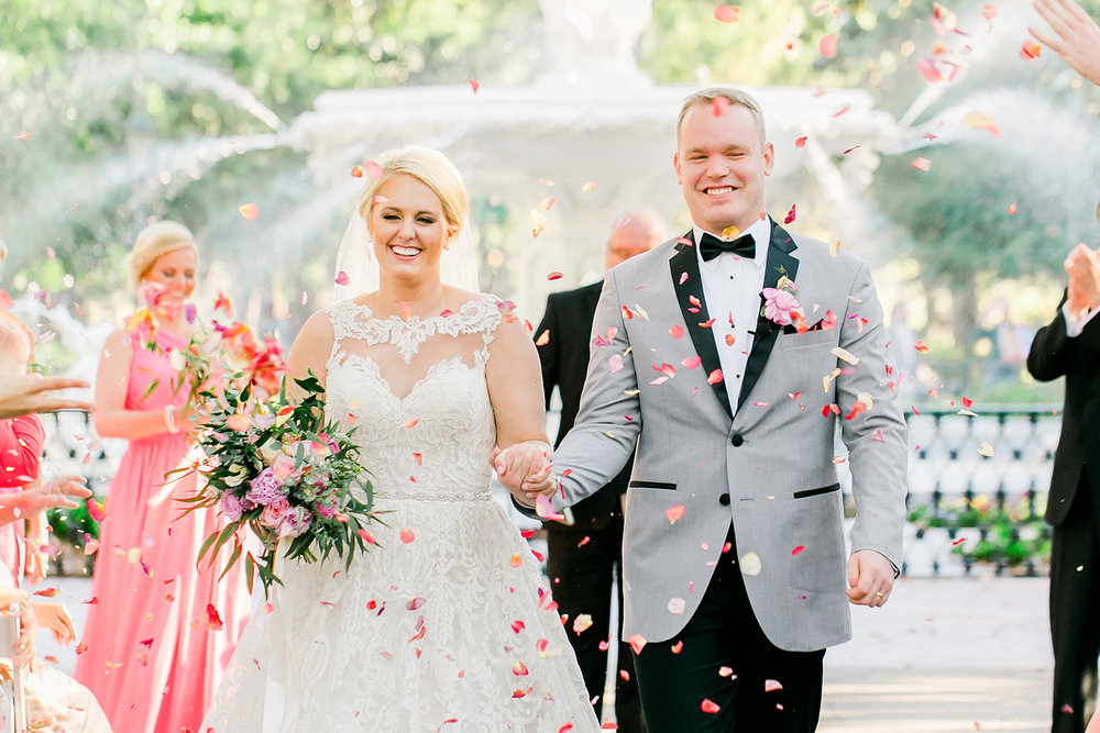 Petal toss at Forsyth Park wedding ceremony in Savannah GA  //  A Lowcountry Wedding Magazine